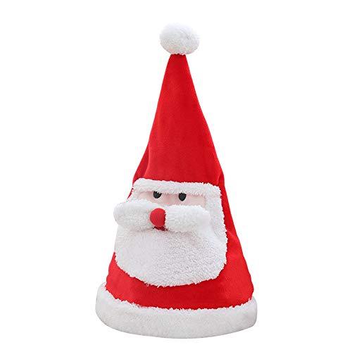 litthb Sombrero de Navidad eléctrico, Disfraz de Navidad, Puede Brillar, Puede Cantar, Puede columpiarse, Adecuado para Fiestas de Navidad, representaciones teatrales y Otras Decoraciones, Rojo