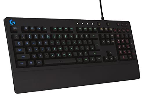 Logitech G213 Prodigy Gaming-Tastatur, RGB-Beleuchtung, Programmierbare G-Tasten, Multi-Media Bedienelemente, Integrierte Handballenauflage, Spritzwassergeschützt, Englisches UK QWERTY-Layout, Schwarz