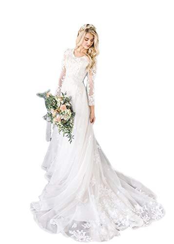 HYC Damen A-Linie Bescheidene Hochzeitskleider mit langen Ärmeln U-Ausschnitt Champagner Spitze Applikationen Brautkleid Gr. 38, weiß