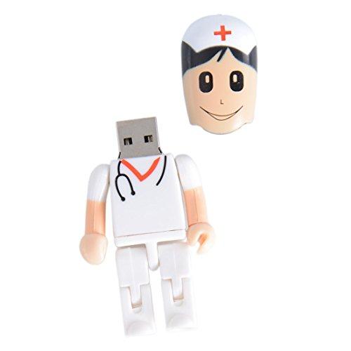 Shooo 32GB Creative Plastic Female enfermera USB 2.0 unidad flash Toy Shape Style Cartoon Robot,with Caja de regalo de plástico