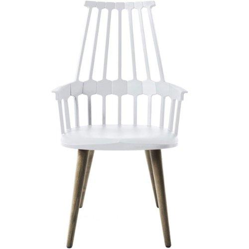 Kartell 595498 Comback Stuhl vier Holzbeine 58 x 100 x 50 cm Sitzhöhe 48,5 cm Sitzflächenfarbe, Gestell Eiche, weiß