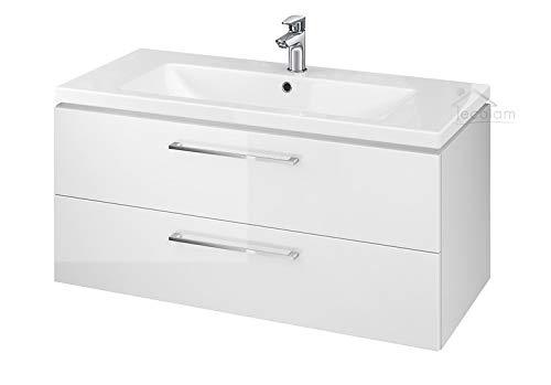 ECOLAM Badmöbel Waschtisch Waschbecken Como 60/80 / 100 cm + Schrank Lara Waschbecken mit Unterschrank 2 Schubladen weiß glänzend (100 cm)