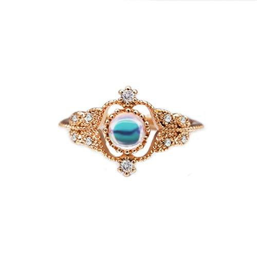 Moonqing - Anillo pequeño con piedra lunar y diamantes de imitación para mujeres y niñas, cobre, oro rosa, talla 3