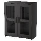BRIMNES Cabinet with doors - glass/black - IKEA