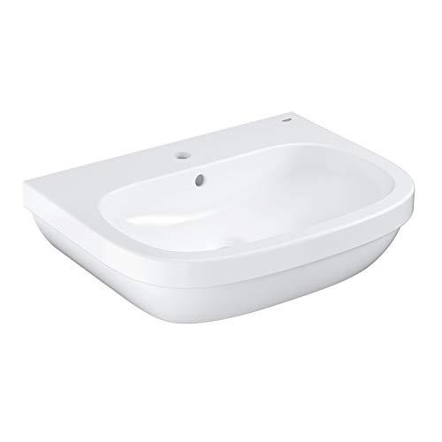 GROHE Euro Keramik, Waschtisch (Waschbecken, Waschplatz), 65 cm breit – Wandhängend, Weiß, mit Überlauf und Hahnloch, 39323000