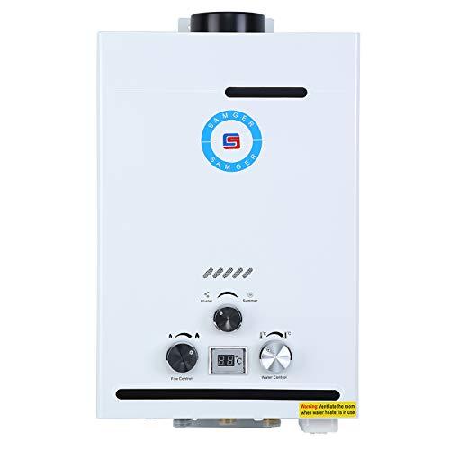 Samger 8L Calentador de Agua Gas Natural Pantalla Digital 1.5 GPM NG Caldera de Agua instantánea Quemador de Agua Caliente de Gas Natural de Acero Inoxidable