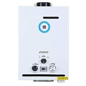 Samger Samger 8L Calentador de Agua sin Tanque 8L Pantalla Digital 1.5 GPM NG Caldera de Agua instantánea Quemador de Agua Caliente de Gas Natural de Acero Inoxidable