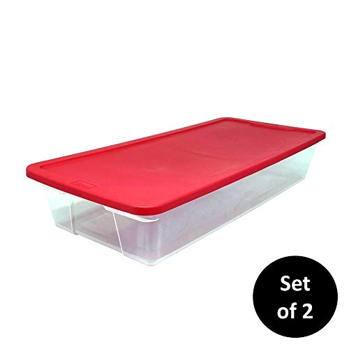 HOMZ Holiday Plastic Storage Container, 41 Quart - 34.375' x 15.5' x 6', Red, 2 Pack