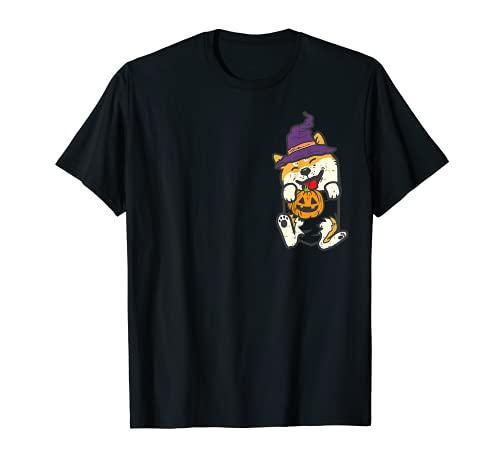 Pocket Shiba Inu Pies Bruja Calabaza Halloween Perro Japonés Camiseta