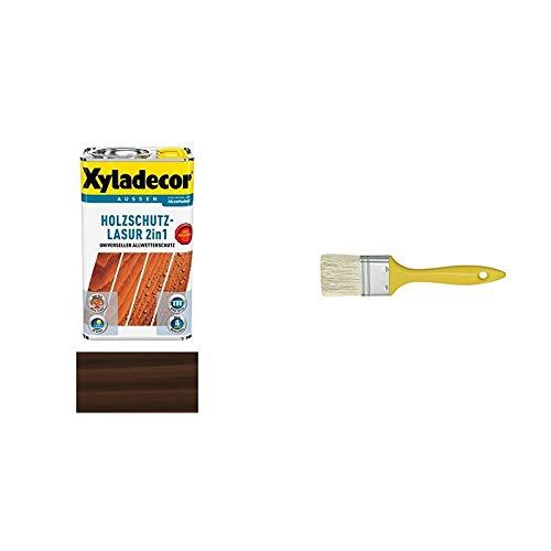 Xyladecor Holzschutzlasur 2in1 Aussen, 5 Liter, Farbton Palisander mit SCHULLER Flächenstreicher mit Kunststoffstiel, breite 20 mm, 6 Stärke, 1 Stück