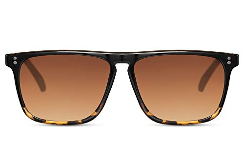 Cheapass Gafas de sol Parte Superior Lisa Rectangular de Negro a Leopardo con Lentes Graduales Marrones 100% con protección UV400 Hombres