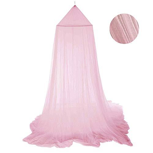 Moustiquaire Ciels de Lit Rose, Ciel de Lit Princesse Moustiquaire Dôme Polyester Décoration pour Chambre Bébé ou Enfant (Hauteur 250 cm)