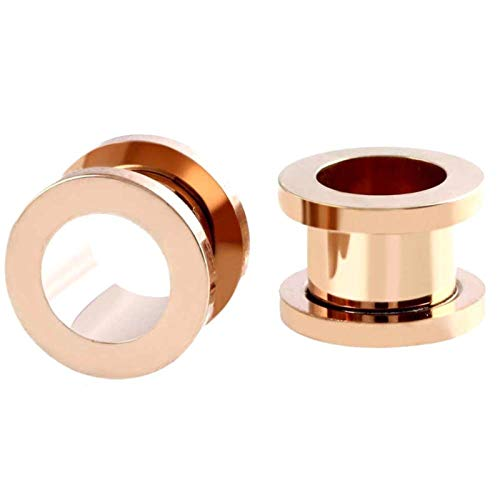 JYBHSH Oído 1PC tapón auditivo dilatador Acero Inoxidable joyería Canal Plug Perforada (Color : EM0035 Rose Gold, Size : 28mm)