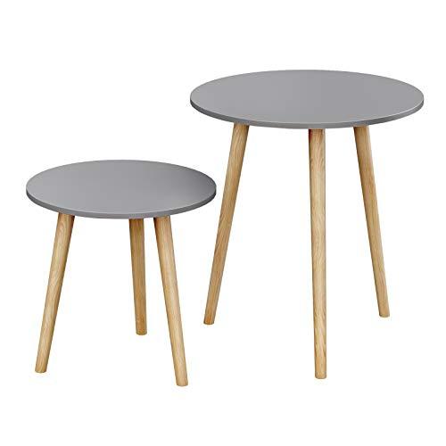SONGMICS Tavolino Rotondo, Tavolino Moderno Minimalista, Set di 2 Tavolini da caffè con Gambe in Legno di Pino, Stile Scandinavo, per Soggiorno Salotto Balcone, Grigio e Naturale LET07GY