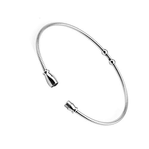 Exceart Roestvrij Stalen Slang Ketting Armband Magnetische Armband Sieraden Cadeau Voor Mannen Vrouwen 2Mm (Zilver)