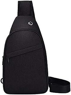 SHIqu Large Capacity Multi-Functional Waterproof 10 inch Chest Bag Shoulder Bag Crossbody Bag (Black)(Grey) (Color : Black)