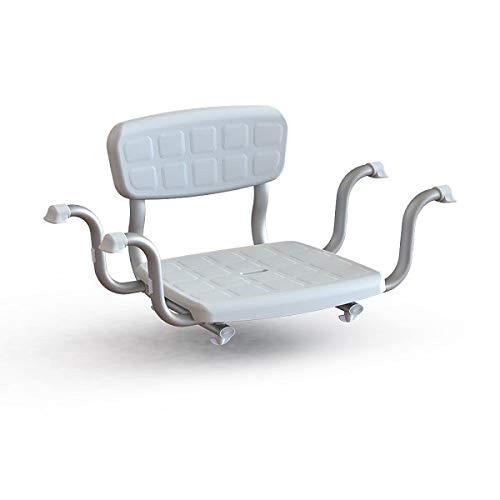 Timago Badewannensitz mit Rückenlehne, breitenverstellbar, Gesamtbreite 67-77 cm, Sitzfläche 37 x 30, Sitztiefe 18 cm, Aluminiumgestell mit Gummikappen, Gewicht 1,80 kg, max. Belastung 125 kg