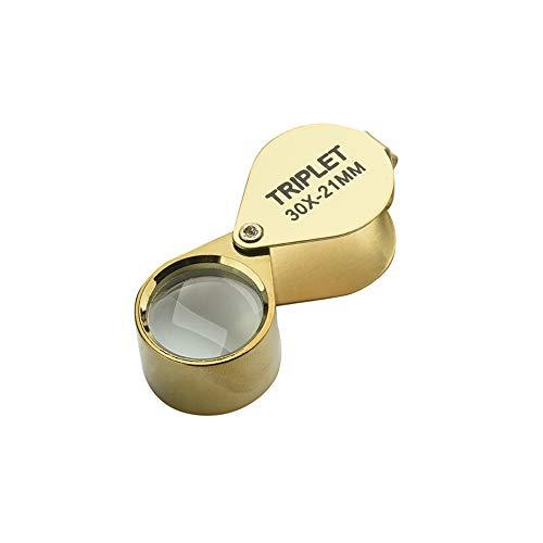 Fliyeong Jewelers Lupe Diamant Jade Metall Tragbare Lupe Glas Faltbare Antiquitäten Lupe Hohe Vergrößerung Augenlinse Werkzeug 21mm