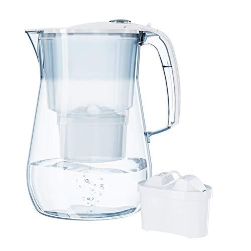 AQUAPHOR Onyx weiß inkl. 1 MAXFOR+ Filterkartusche-Premium-Wasserfilter in Glasoptik zur Reduzierung von Kalk, Chlor & Schwermetallen, Kunststoff, Volumen 4,2 l