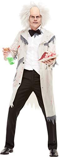 Halloweenia - Herren Männer verrückte Professor Wissenschaftler Kostüm, Kittel und Perücke, perfekt für Halloween Karneval und Fasching, M, Weiß