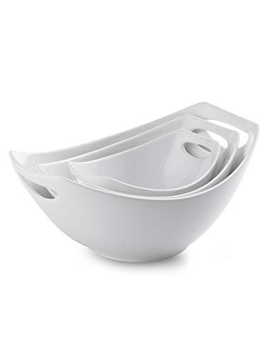 Porcelain Serving Bowl Set with Handles 3 Packs Ceramic Mixing Bowl Set for Kitchen Nesting Bowl Set 15/28/ 49oz