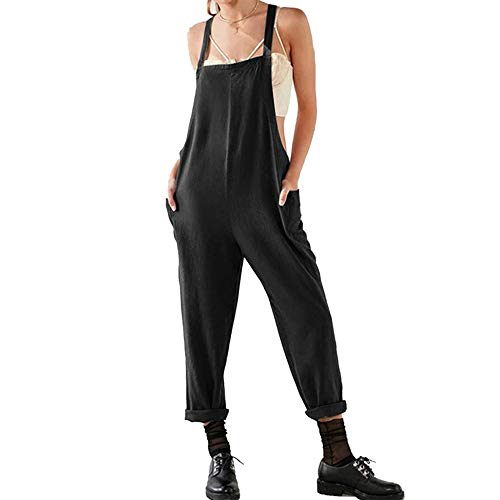 Damen Frauen Retro Latzhose Lässig Insgesamt Baggy Jumpsuits, Morbuy Leinen Taschen Playsuit Hose Lange Harem Casual Overalls Täglichen Trousers Pants (M,Schwarz)