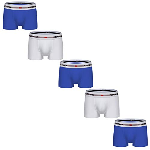 FNKDOR 5er Pack Kurz Boxershorts Herren Baumwolle Low Rise Eng Elastisch Einfarbig Unterhosen Farbmischung Kombination Blau M
