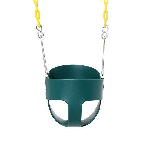 Life accessories Columpio para niños con respaldo alto y cubo completo Asiento para columpio para niños pequeños con cadenas recubiertas de plástico - Juego de columpios (Color: Azul Tamaño: 28x25.