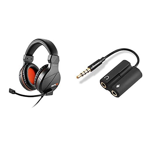 Sharkoon Rush ER3 Gaming Headset Schwarz & PMP35 - TRRS Audio Combo Adapter für Gaming Headsets (PS4 / Tablets/Smartphones/Notebooks) schwarz