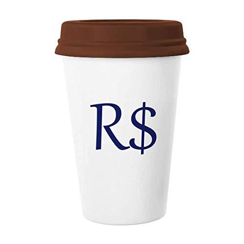 Brasilien Währung Symbol Real BRL Tasse Kaffee Trinkglas Keramik Tasse Deckel