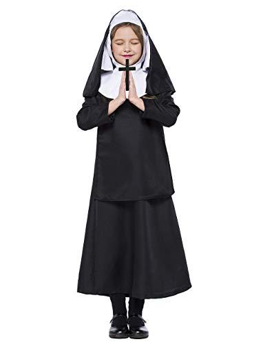 LOLANTA Disfraz de Monja católica para niñas Disfraz de Monja de Halloween Disfraz de San Monja para niños (6-7 años)