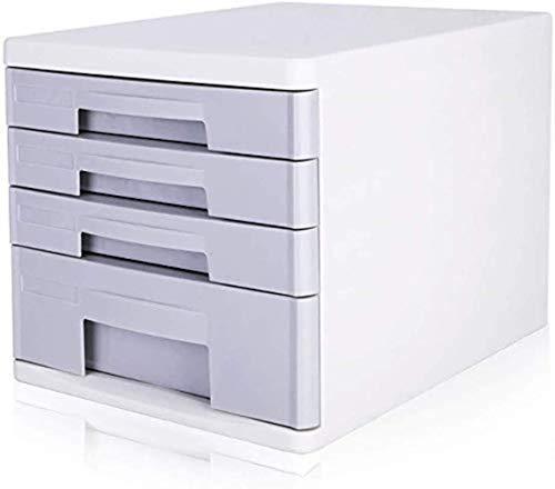 File cabinets Flat 4 Drawer Desktop Data Storage Cabinet Office Cabinet Plastic Gray/Blue 27 * 34 * 25cm Home Office Furniture bookcase (Color : Gray)