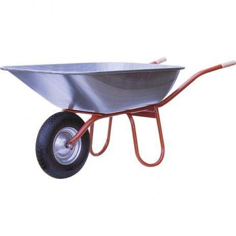 Professionele bouwkruiwagen Praktica I kruiwagen met luchtwiel, houten handgrepen & 120 liter opening I verzinkt & ongemonteerd