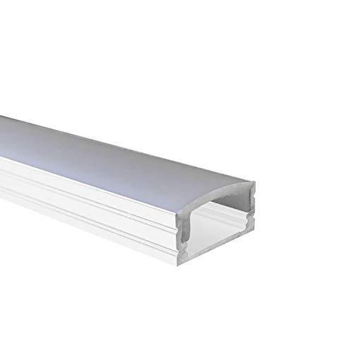 OPAL - 200 cm LED Aluminium Profil AUFPUTZ-KL in Weiss + 200 cm weiß milchige Abdeckung für LED-Streifen 2m Alu Profile Leisten von Alumino®