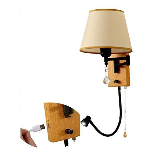 Lámpara de pared lámpara de pared de brazo giratorio ajustable de madera lámpara de cama con interruptor de tiro,con lámpara de lectura LED de cuello de cisne de,conexión USB, pantalla de tela