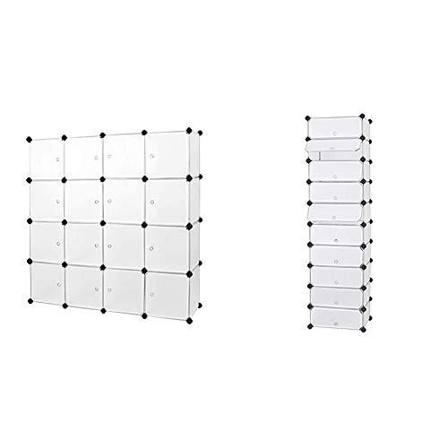 SONGMICS Armario Modular de Plástico PP, Estantería de almacenaje con 16 Cubos + Estantería por módulos Organizador de Zapatos, Zapatero con 10 estantes, Color Blanco LPC10W