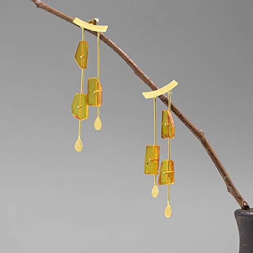 weichuang Pendientes de plata de ley 925 lindos de plata de ley 925 con borla de ámbar natural, pendientes largos de gota para mujer (Color de la gema: oro)