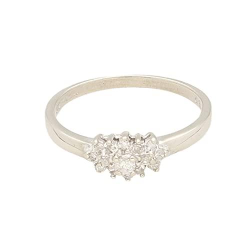 Anillo de oro blanco de 9 quilates para mujer con diamante de 0,15 quilates (tamaño N) cabeza de 9 x 6 mm, anillo de lujo para mujer
