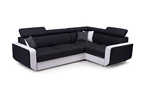 MOEBLO Ecksofa mit Schlaffunktion Eckcouch mit Bettkasten Sofa Couch L-Form Polsterecke Celine (Schwarz + Weiß, Ecksofa Rechts)