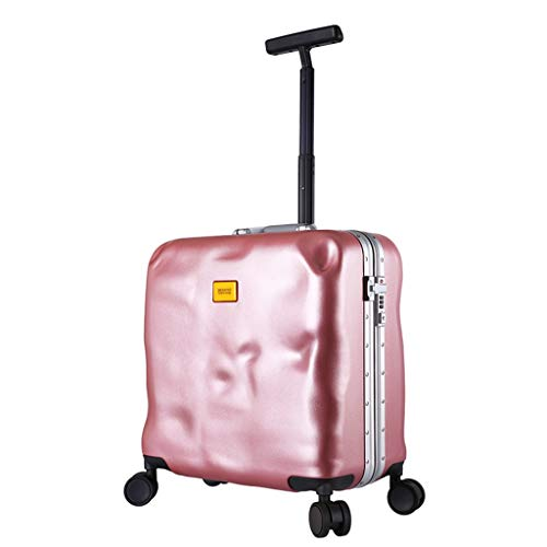 LLRDIAN Super Lightweight Hard Shell Travel Carry On Cabin Hand Luggage Suitcase with 4 Wheels, Boarding The Chassis Universal Wheel Trolley case (Color : Pink, Size : 42×23.5×41CM)