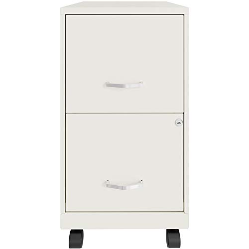 Space Solutions 2 Drawer Metal Mobile File Cabinet with Lock, Letter Size, White, Fully Assembled