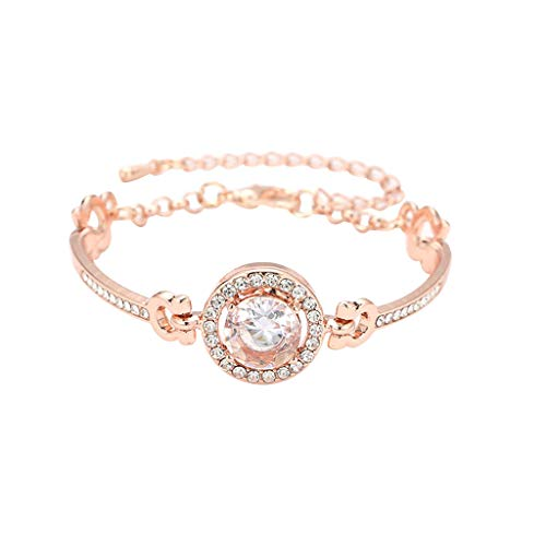 aihihe Women's Elegant Crystal Bracelet, Simulated Diamond Charm Bracelets Gift for Valentine's Day Wedding Birthday
