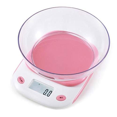 DCJLH Báscula de Cocina Mini Escala De Hornear Escala De Alimentos De Cocina Electrónica Portátil con Un Tazón (Color : Pink, Size : 5kg/1g)
