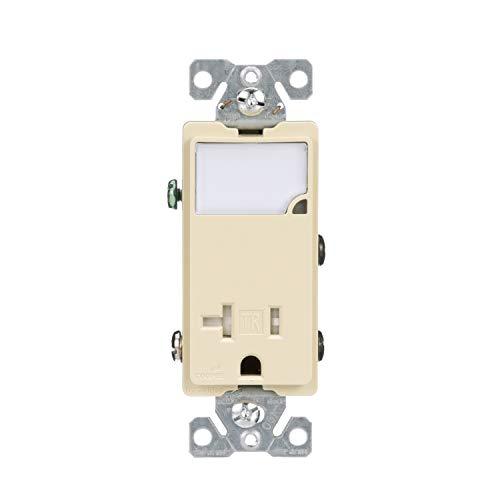 Eaton TR7736V 3-Wire Receptacle Combo Luz nocturna con 2 polos resistentes a la manipulación, color marfil