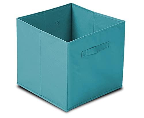 GREATOOL Caja de Almacenaje Plegable, Pack 2 Unidades de 31x31x31cm, Cajas organizadoras en Tela, Caja para organizar Ropa, Juguetes y Sábanas en Armarios (2 Unidades, Azul Claro)