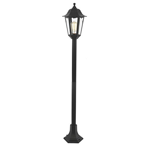 Litecraft Neri Outdoor Tall Lamp Post Lantern Polycarbonate IP44 Rated Garden Light- Black