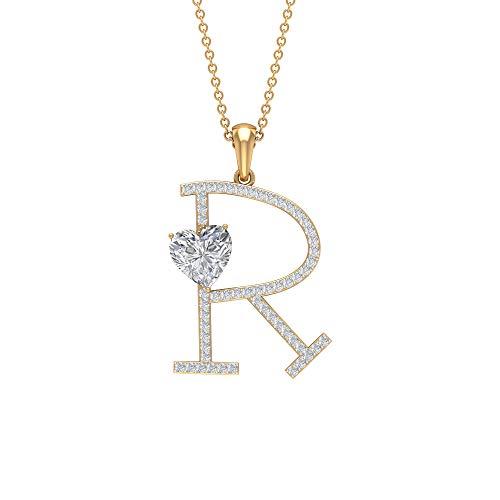 Colgante de moissanita en forma de corazón de 7 mm, colgante de moissanita de corte redondo D-VSSI, colgante de letra R, collar con inicial de oro blanco