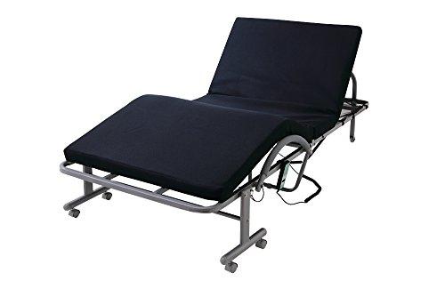 低反発 メッシュ仕様 電動 リクライニングベッド ベッド 折りたたみ 折りたたみベッド (セミダブル, ネイビー)