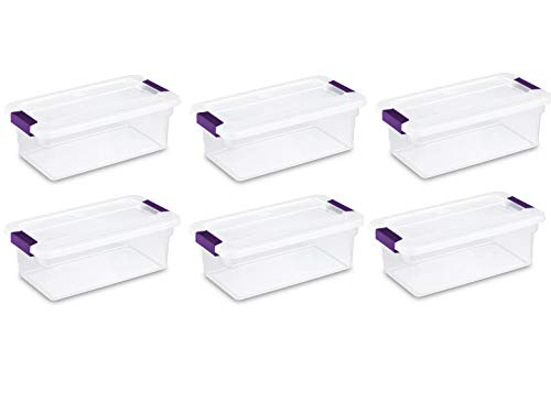 STERILITE 17511712 6-Quart Clearview Latch Box, with Plum Handles, 6-Pack