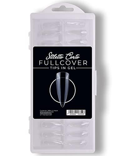 240 Pezzi Fullcover Tips in Gel a forma di Stiletto Corto Trasparenti, 6 misure Full Cover Unghie Finte per Ricostruzioni Mani, Nails e Tip Nail art